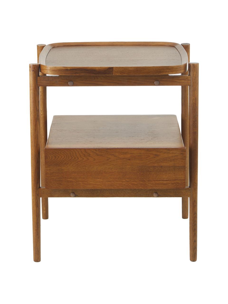 Stolik nocny z drewna dębowego Libby, Drewno orzecha włoskiego, S 49 x W 60 cm