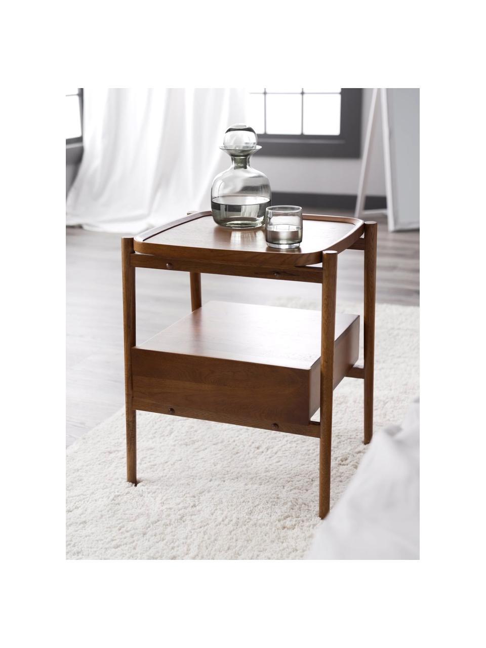 Table de chevet bois de chêne Libby, Brun foncé