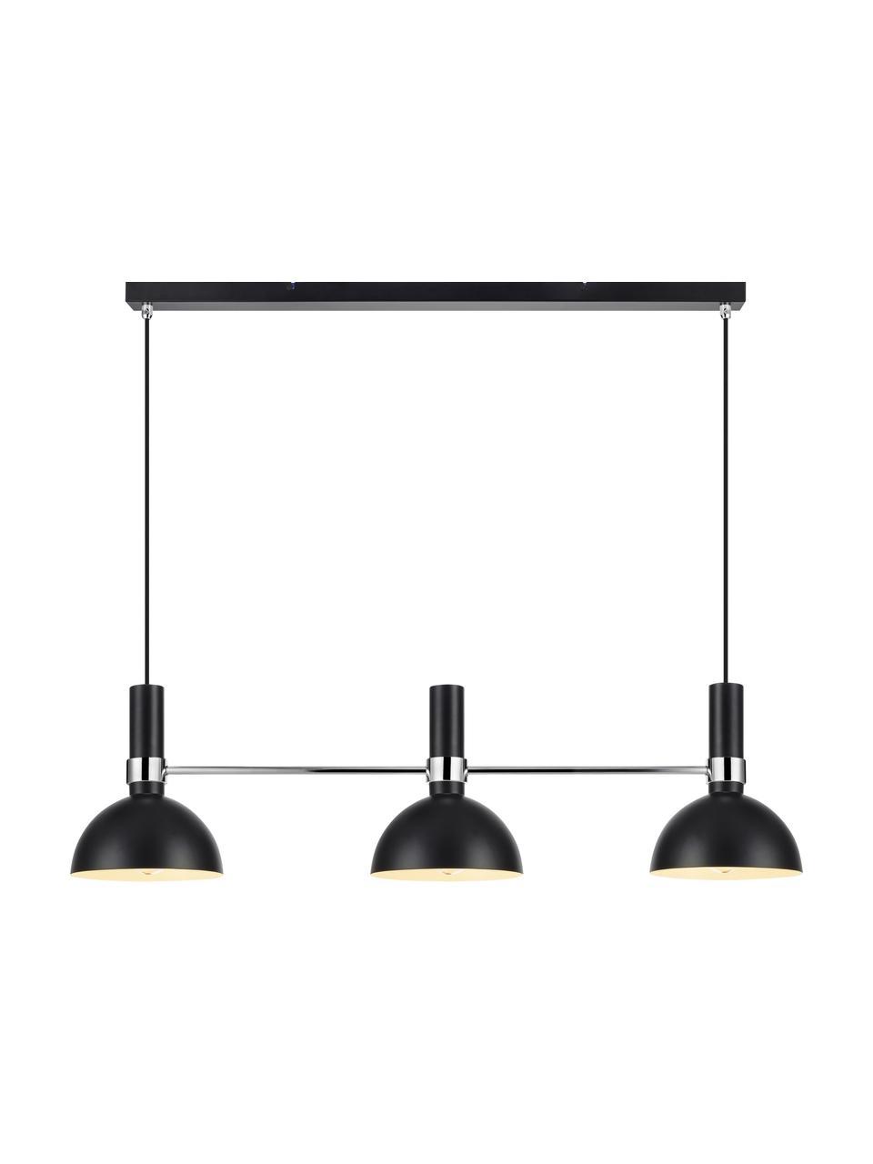 Duża lampa wisząca Larry, Czarny, chrom, S 100 x W 24 cm