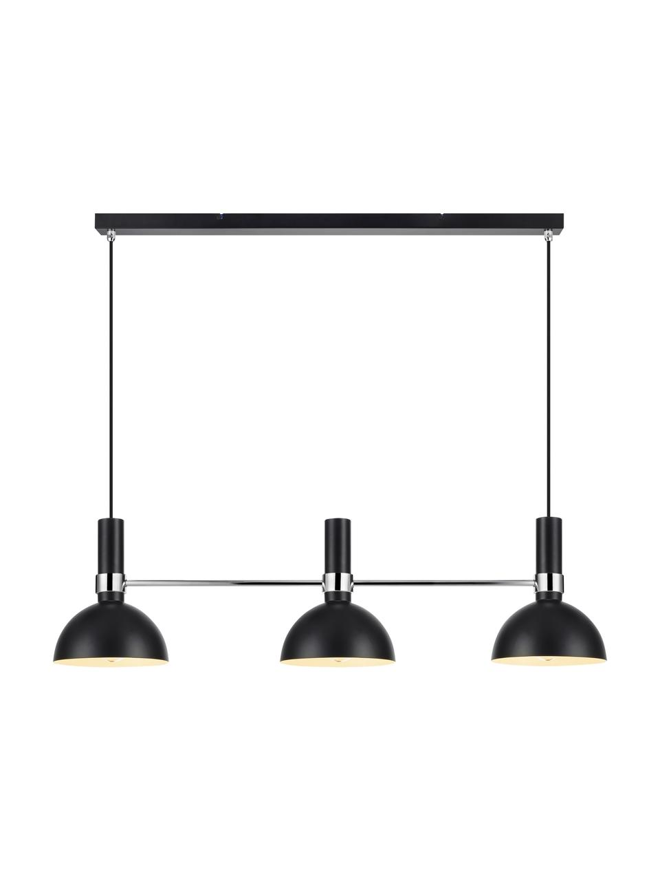 Große Pendelleuchte Larry, Baldachin: Messing, lackiert, Schwarz,Chrom, 100 x 24 cm
