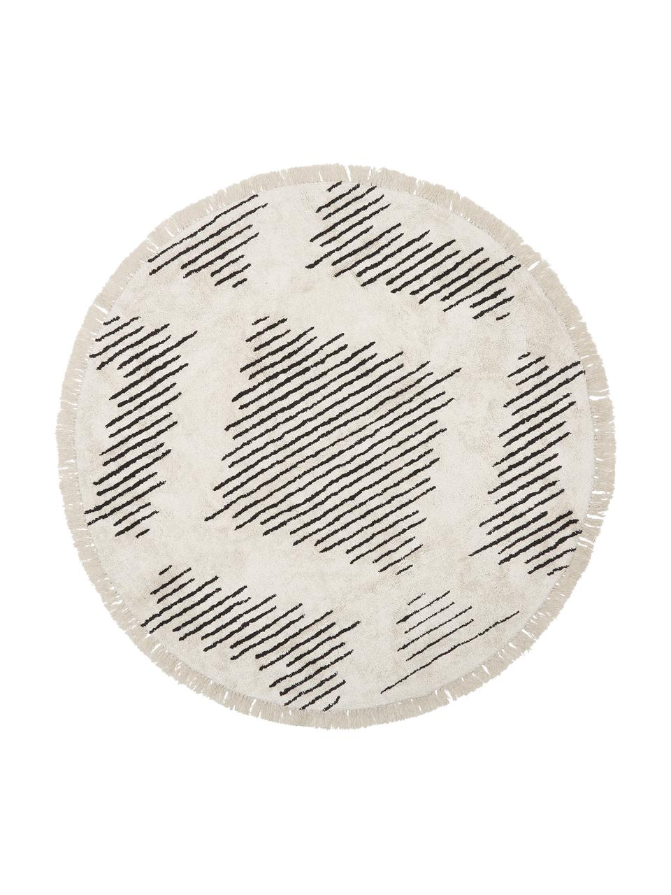 Okrągły ręcznie tuftowany dywan z bawełny w stylu boho z frędzlami Lines, 100% bawełna, Beżowy, czarny, Ø 150 cm (Rozmiar M)