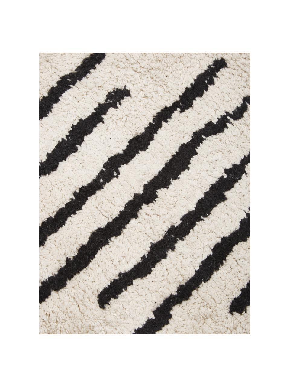 Runder Boho-Baumwollteppich Lines mit Fransen, handgetuftet, 100% Baumwolle, Beige, Schwarz, Ø 150 cm (Größe M)