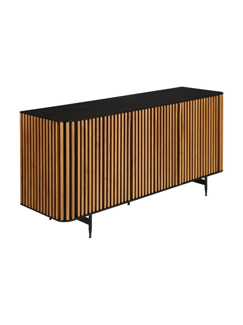 Design dressoir Linea met deuren en eikenhoutfineer, Frame: MDF met gelakt eikenfinee, Poten: gelakt metaal, Zwart, eikenhoutkleurig, 159 x 74 cm
