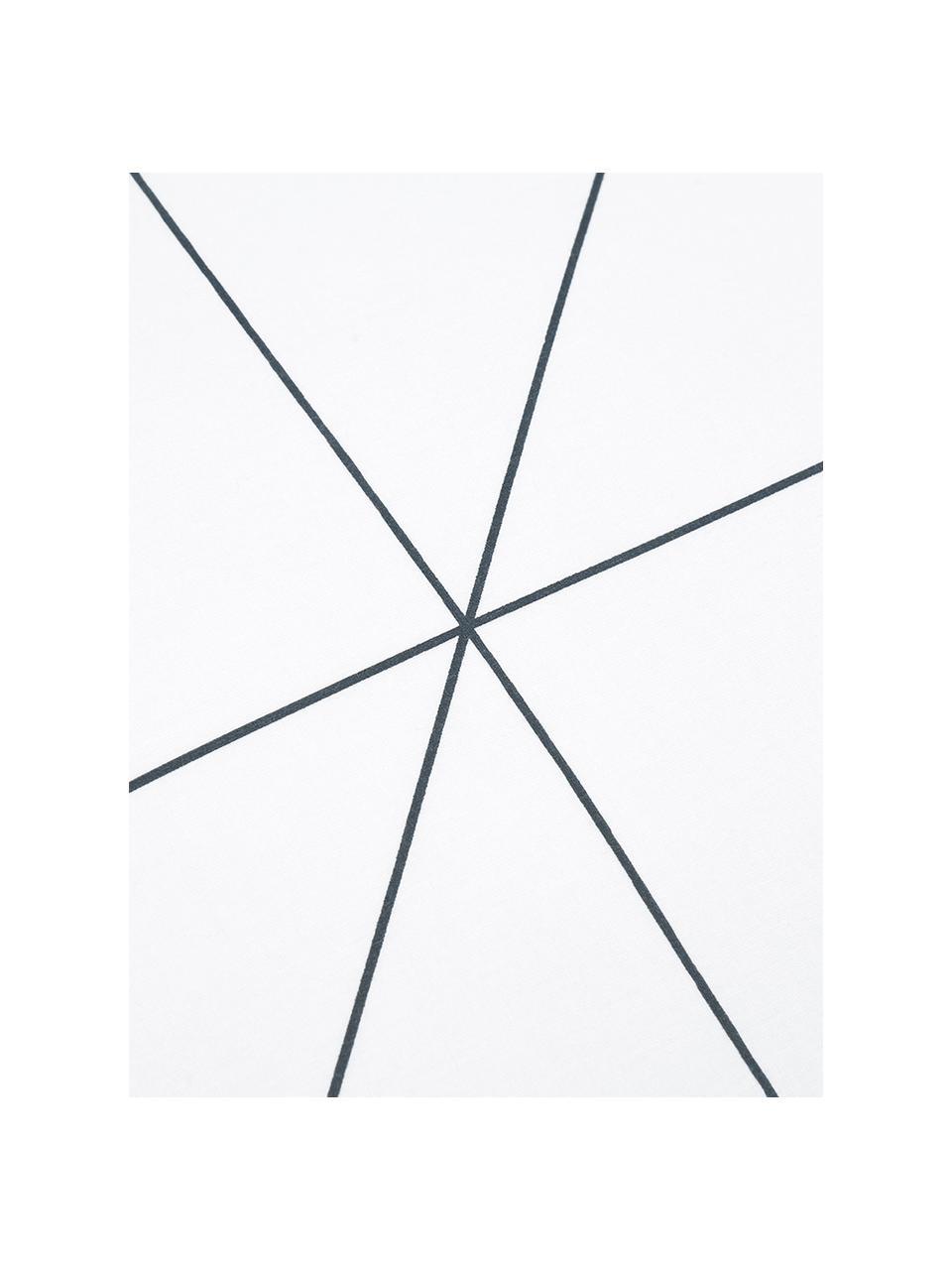 Dubbelzijdig renforcé dekbedovertrek Marla, Weeftechniek: renforcé, Donkerblauw, wit, 140 x 200 cm + 2 kussen 60 x 70 cm