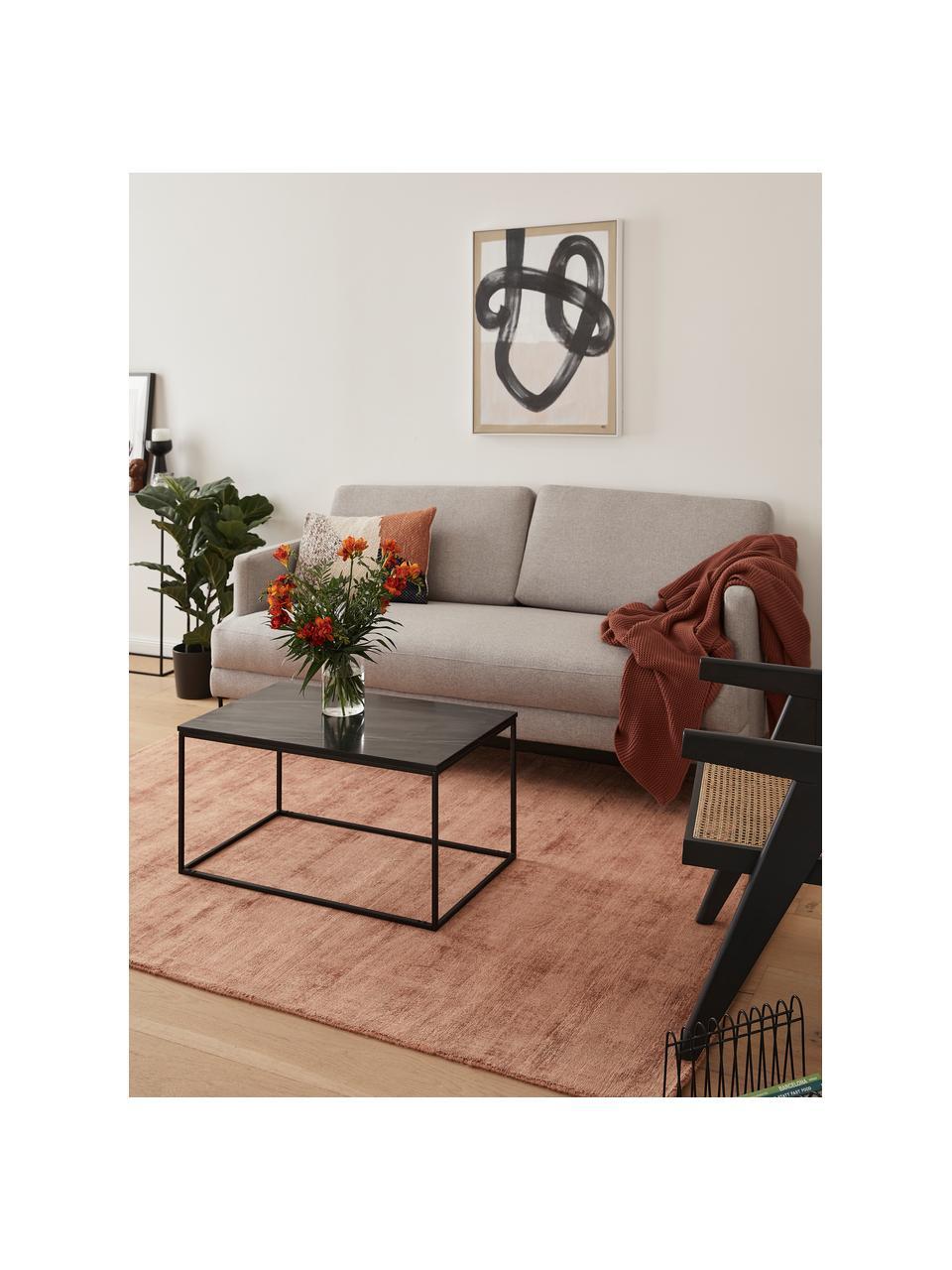 Marmor-Couchtisch Alys, Tischplatte: Marmor, Gestell: Metall, pulverbeschichtet, Schwarzer Marmor, Schwarz, 80 x 40 cm