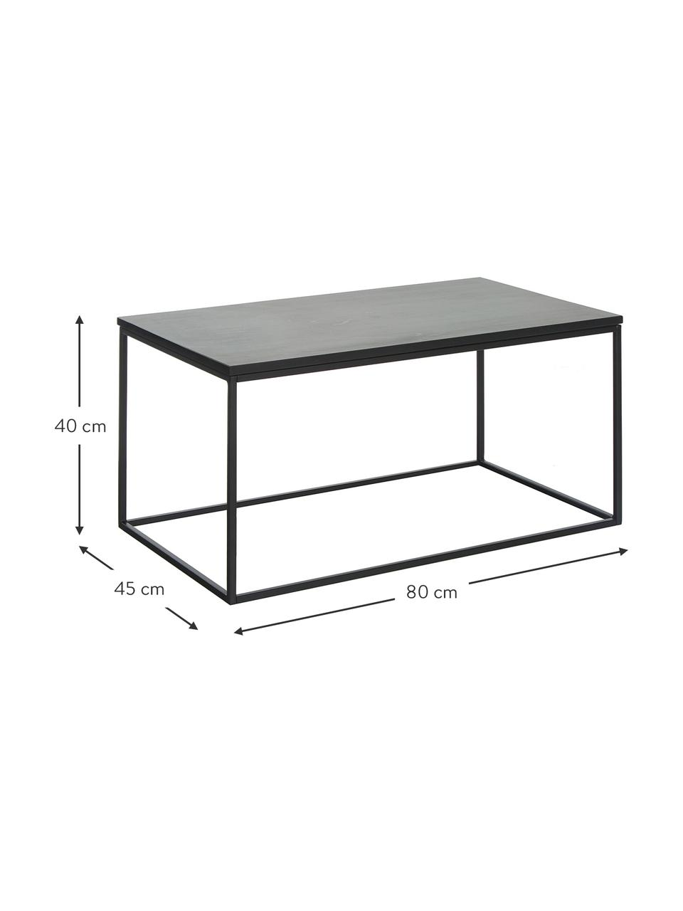 Marmeren salontafel Alys, Tafelblad: marmer, Frame: gepoedercoat metaal, Tafelblad: zwart marmer, licht glanzend. Frame: mat zwart, 80 x 40 cm