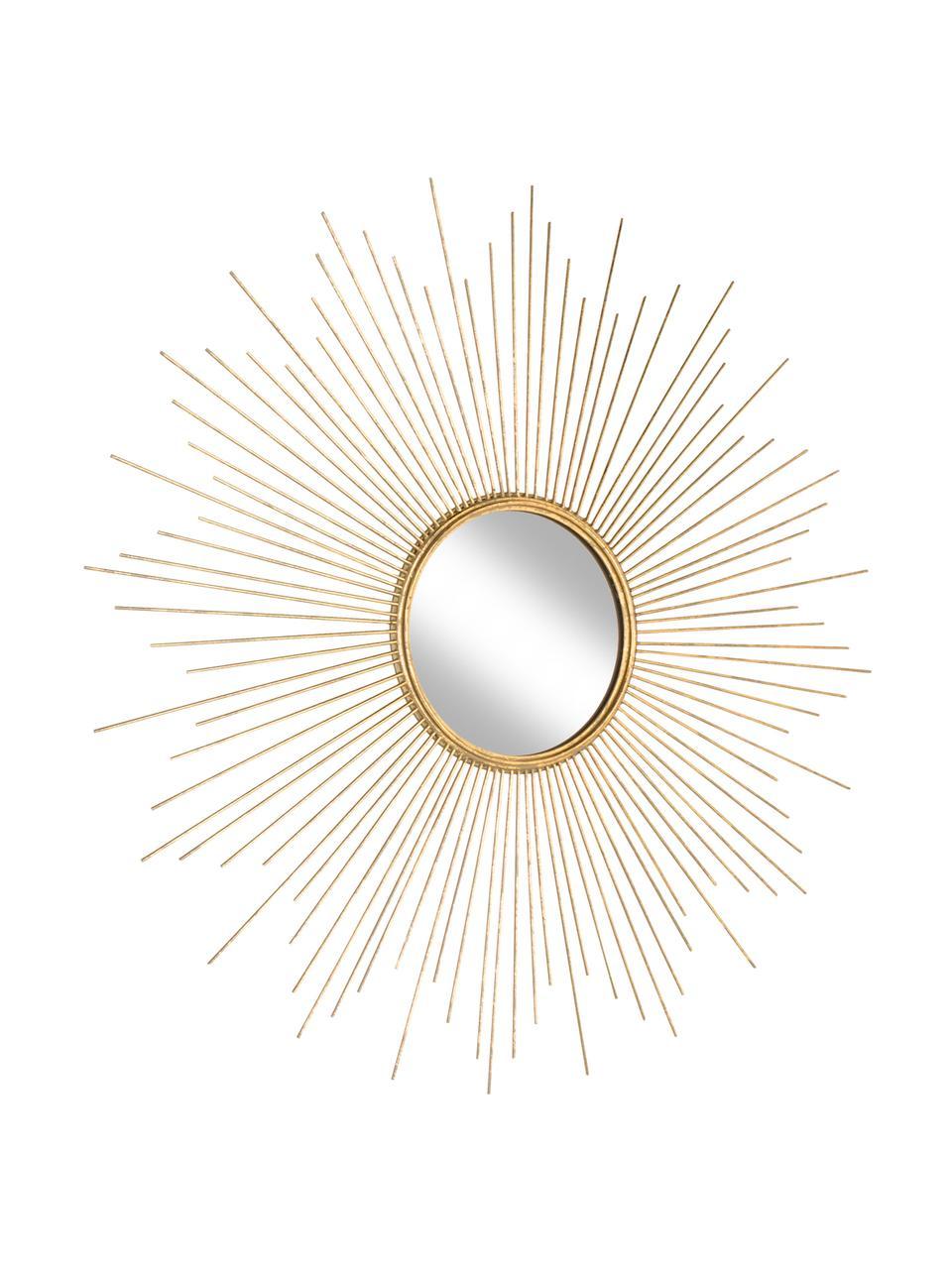 Dekospiegel Ella mit goldenem Metallrahmen, Rahmen: Metall, beschichtet, Goldfarben, Ø 98 x T 1 cm