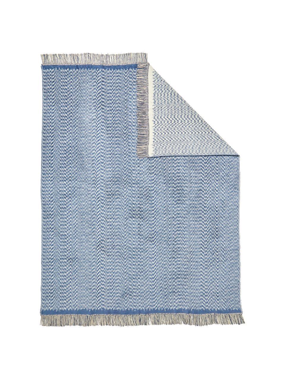 Pled Folk, 50%bawełna, 43%poliakryl, 7%siarczek polifenylenu, Niebieski, biały, S 150 x D 200 cm
