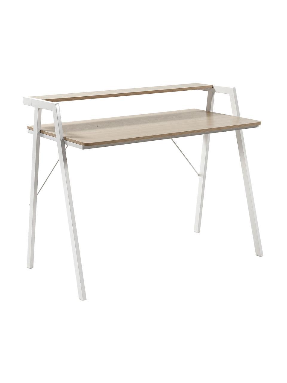 Schreibtisch  Alanna aus Eichenholz, Tischplatte: Mitteldichte Holzfaserpla, Gestell: Metall, lackiert, Eichenholz, Weiß, B 115 x T 60 cm