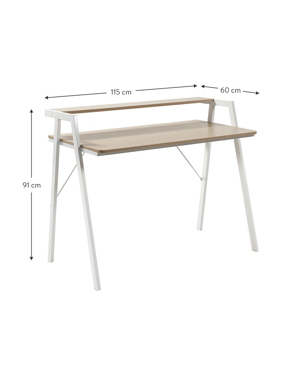Bureau  Alanna van eikenhout, Tafelblad: MDF, Frame: gelakt metaal, Eikenhoutkleurig, wit, B 115 x D 60 cm