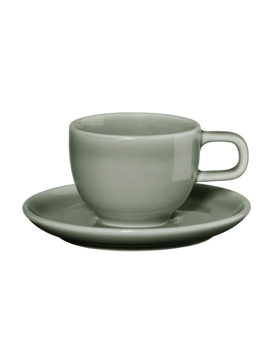 Filiżanka z porcelany do espresso ze spodkiem Kolibri, 6 szt., Porcelana, Szary, Ø 6 x W 6 cm