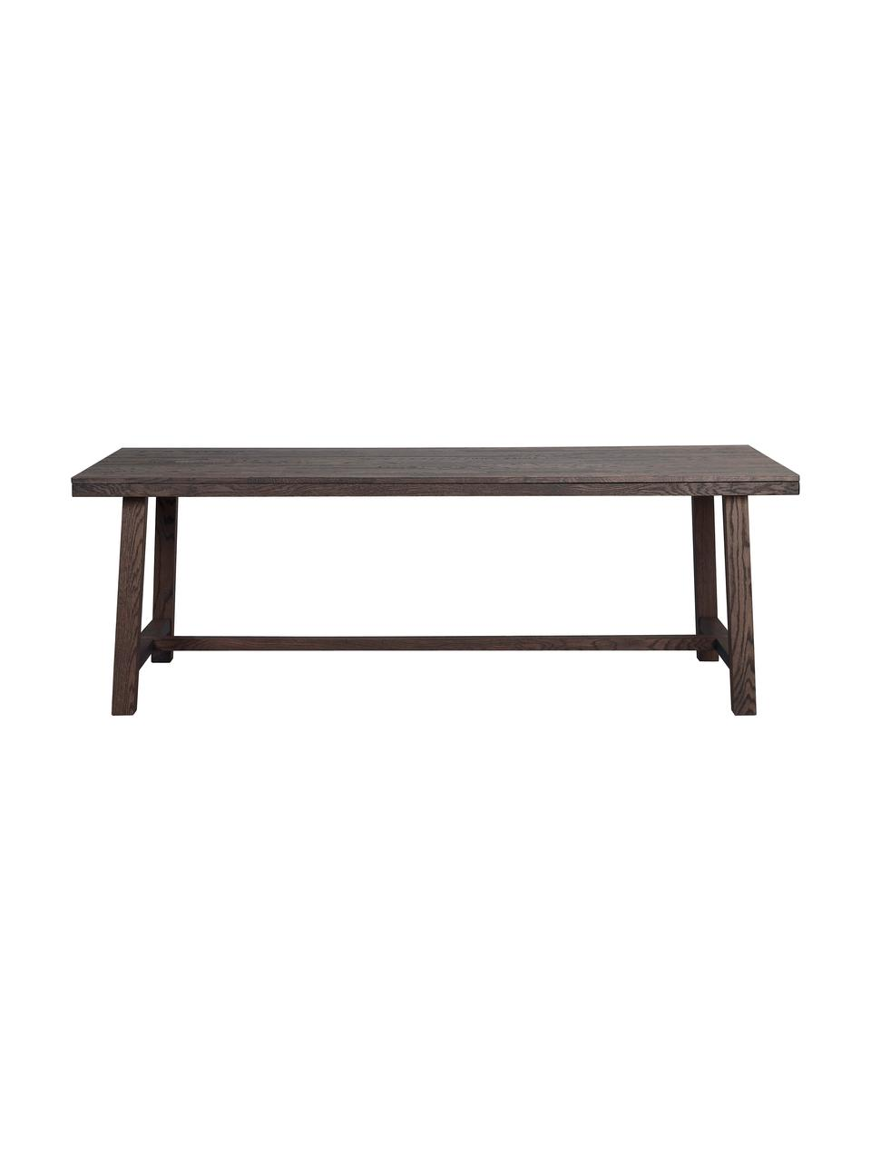 Grande table en bois massif Brooklyn, 220 x 95 cm, Chêne, teinté brun foncé