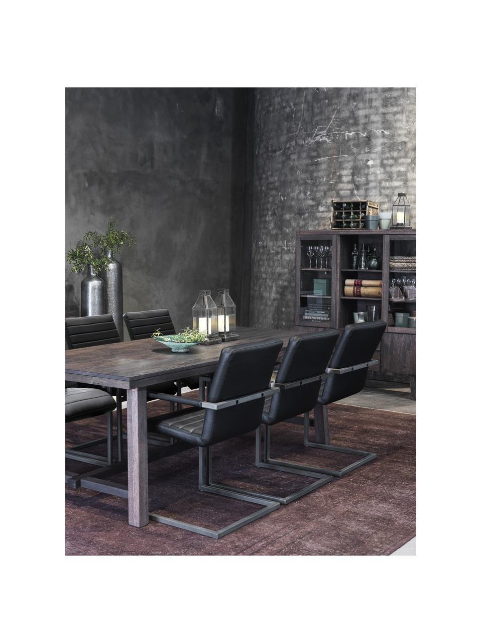 Duży stół do jadalni z litego drewna  Brooklyn, Lite drewno dębowe, bejcowane i lakierowane, Drewno dębowe, ciemnybrązowy, barwione, S 220 x G 95 cm