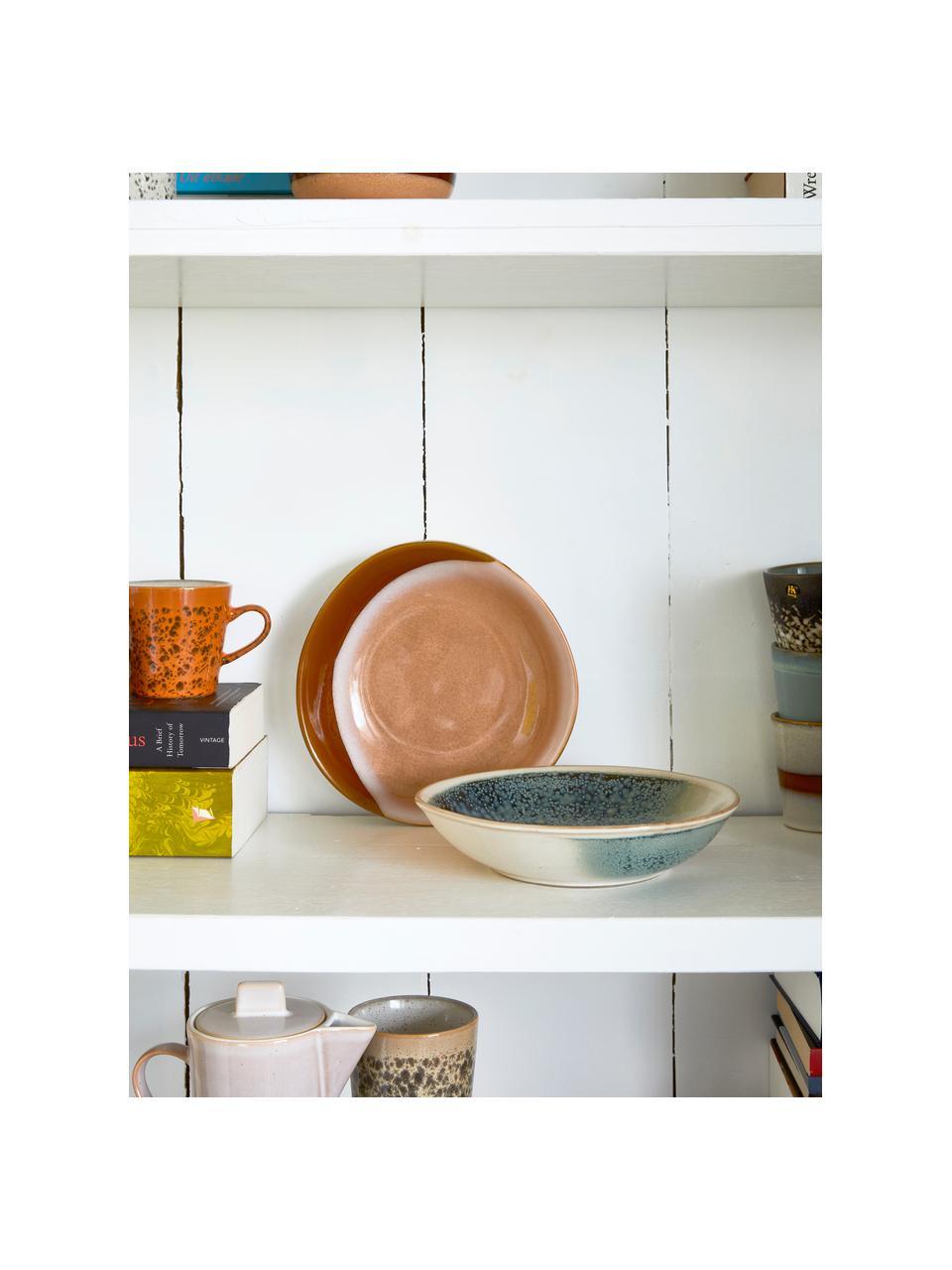 Set van 2 handgemaakte schalen 70's, Keramiek, Beige, oranjetinten, 21 x 5 cm