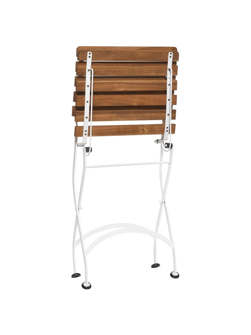 Garten-Klappstühle Parklife, 2 Stück, Sitzfläche: Akazienholz, geölt, Gestell: Metall, verzinkt, pulverb, Weiß, Akazienholz, B 47 x T 59 cm