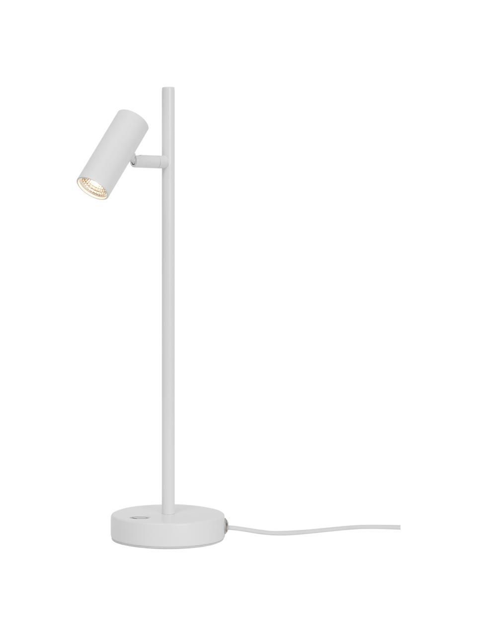 Dimmbare LED-Schreibtischlampe Omari in Weiß, Lampenschirm: Metall, beschichtet, Lampenfuß: Metall, beschichtet, Weiß, 10 x 40 cm