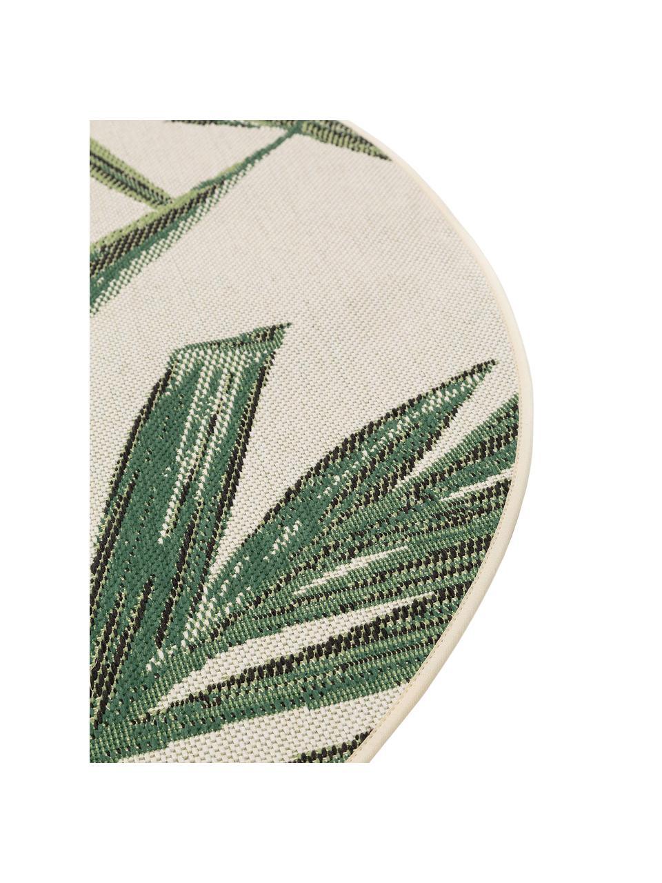 Runder In- & Outdoor-Teppich Capri, 100% Polypropylen, Grün, Creme, Ø 160 cm (Größe L)