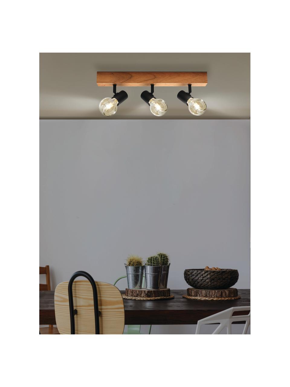 Faretti da soffitto in legno Townshend, Baldacchino: legno, Nero, legno, Larg. 48 x Alt. 13 cm