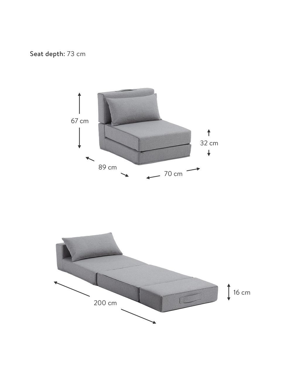 Schlafsessel Arty in Grau mit Zierkissen, ausklappbar, Bezug: Polyester Der hochwertige, Grau, 70 x 67 cm