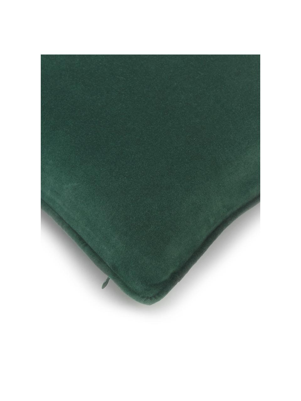 Effen fluwelen kussenhoes Dana in smaragdgroen, 100% katoenfluweel, Smaragdgroen, 50 x 50 cm