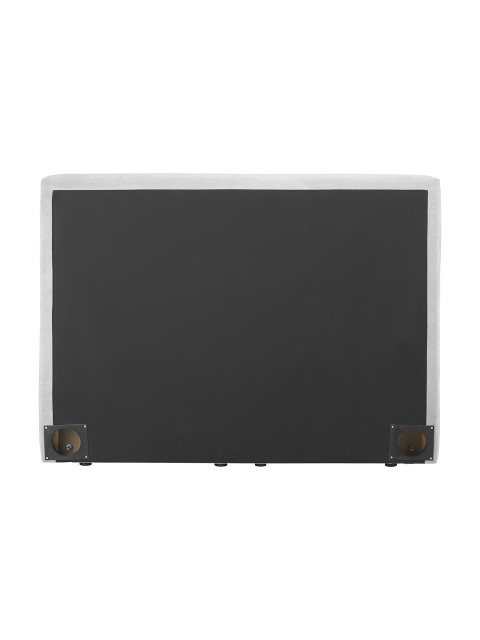 Letto boxspring in tessuto grigio chiaro con contenitore Oberon, Materasso: nucleo a 5 zone di molle , Piedini: plastica, Tessuto grigio chiaro, 200 x 200 cm
