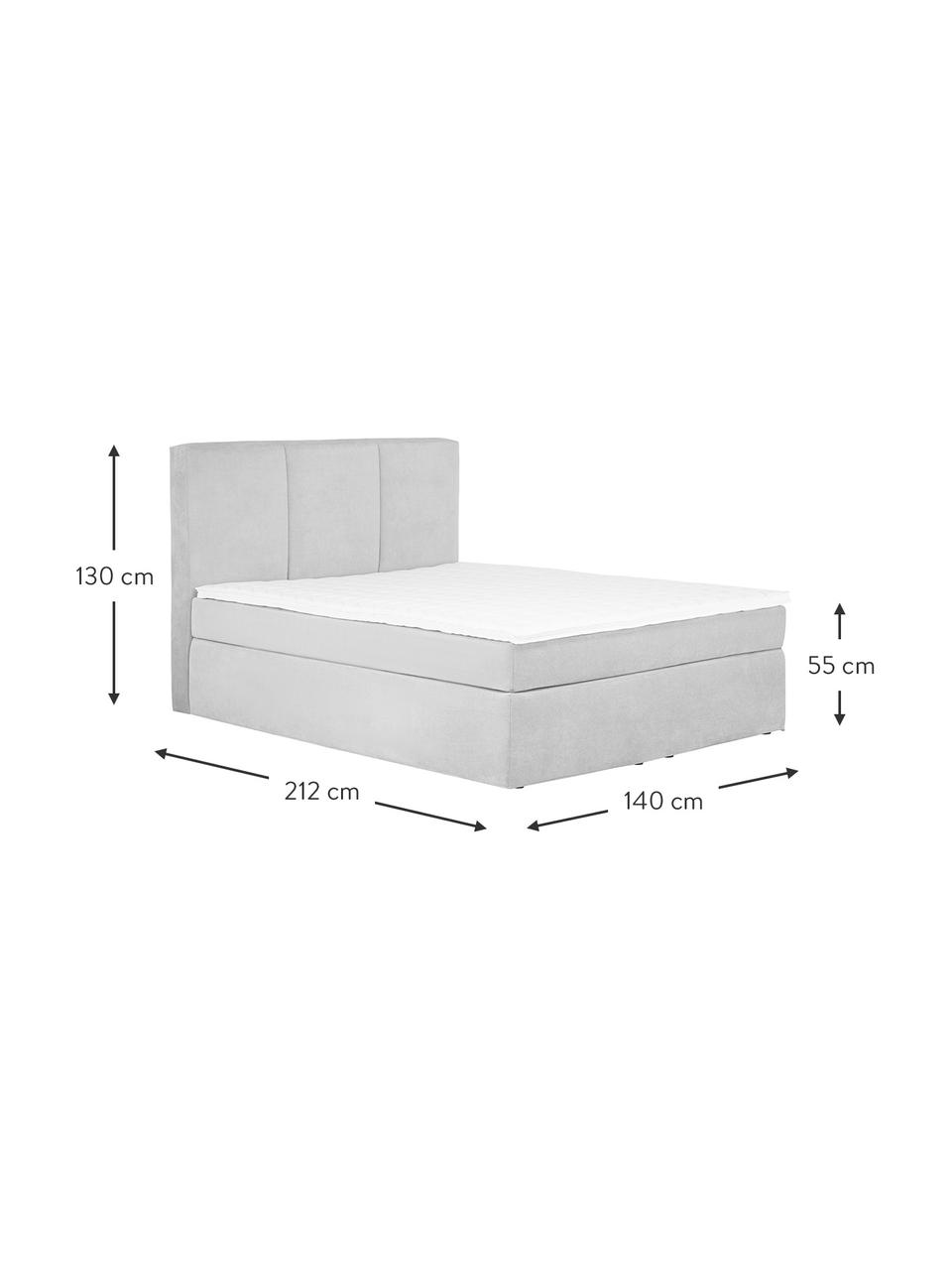 Łóżko kontynentalne Oberon, Nogi: tworzywo sztuczne, Jasny szary, S 200 x D 200 cm