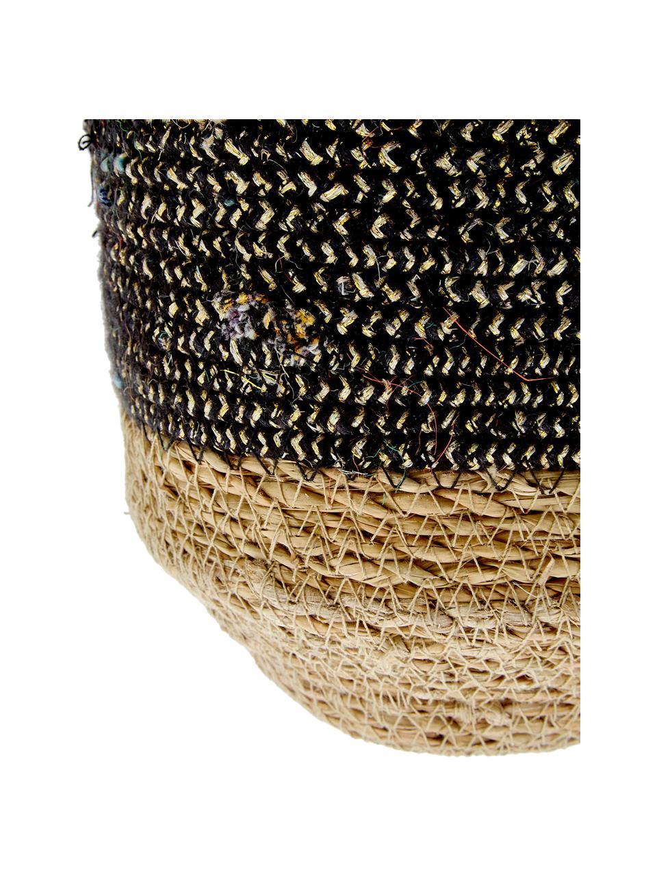 Hängender Übertopf Osanippa aus Naturmaterialien, Hoglablätter, Braun, Schwarz, Ø 16 x H 80 cm