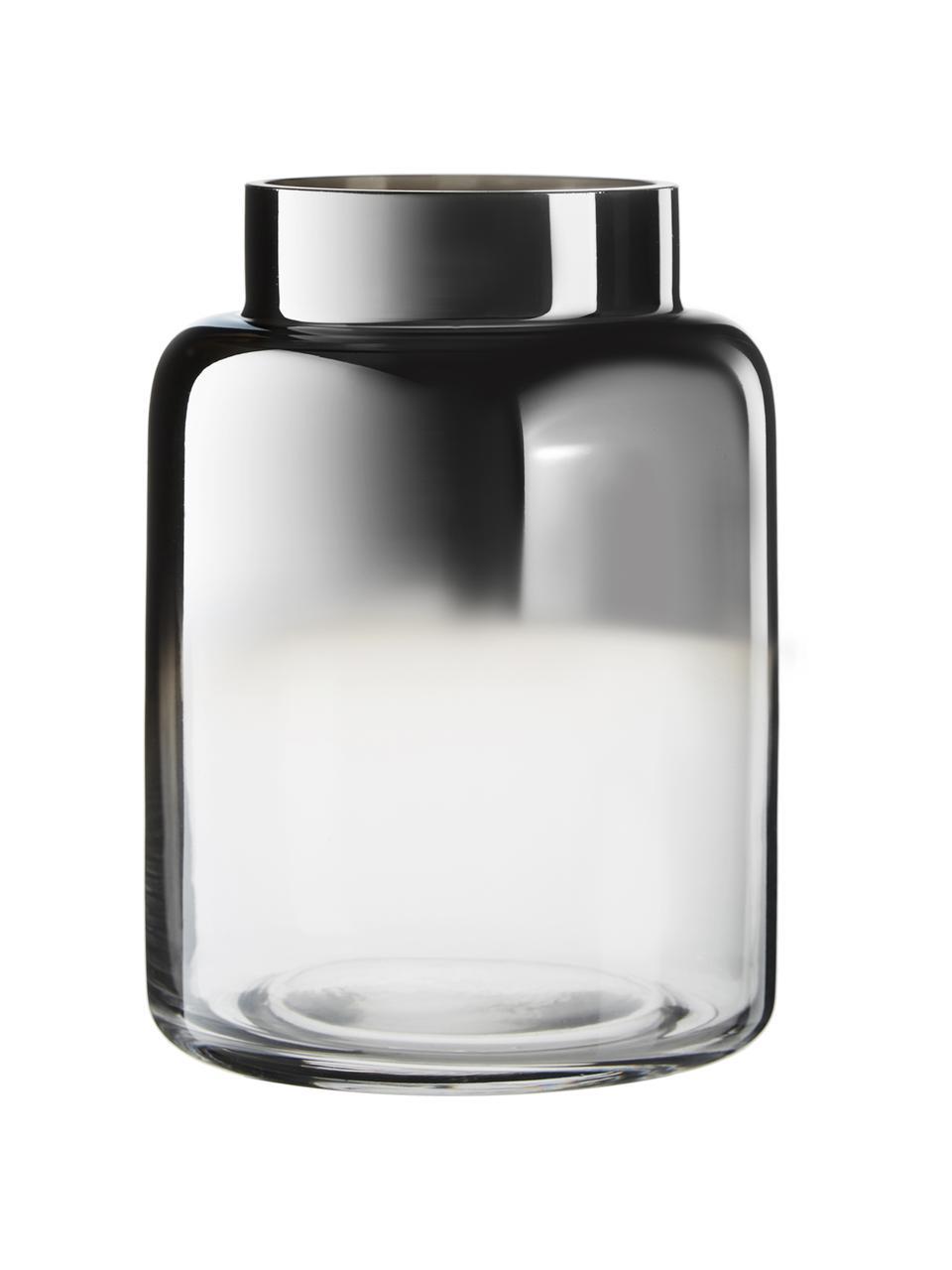 Vase en verre soufflé bouche Uma, Transparent, noir