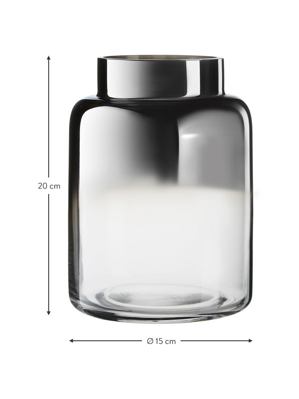 Mundgeblasene Glasvase Uma, Glas, Transparent,Schwarz, Ø 15 x H 20 cm