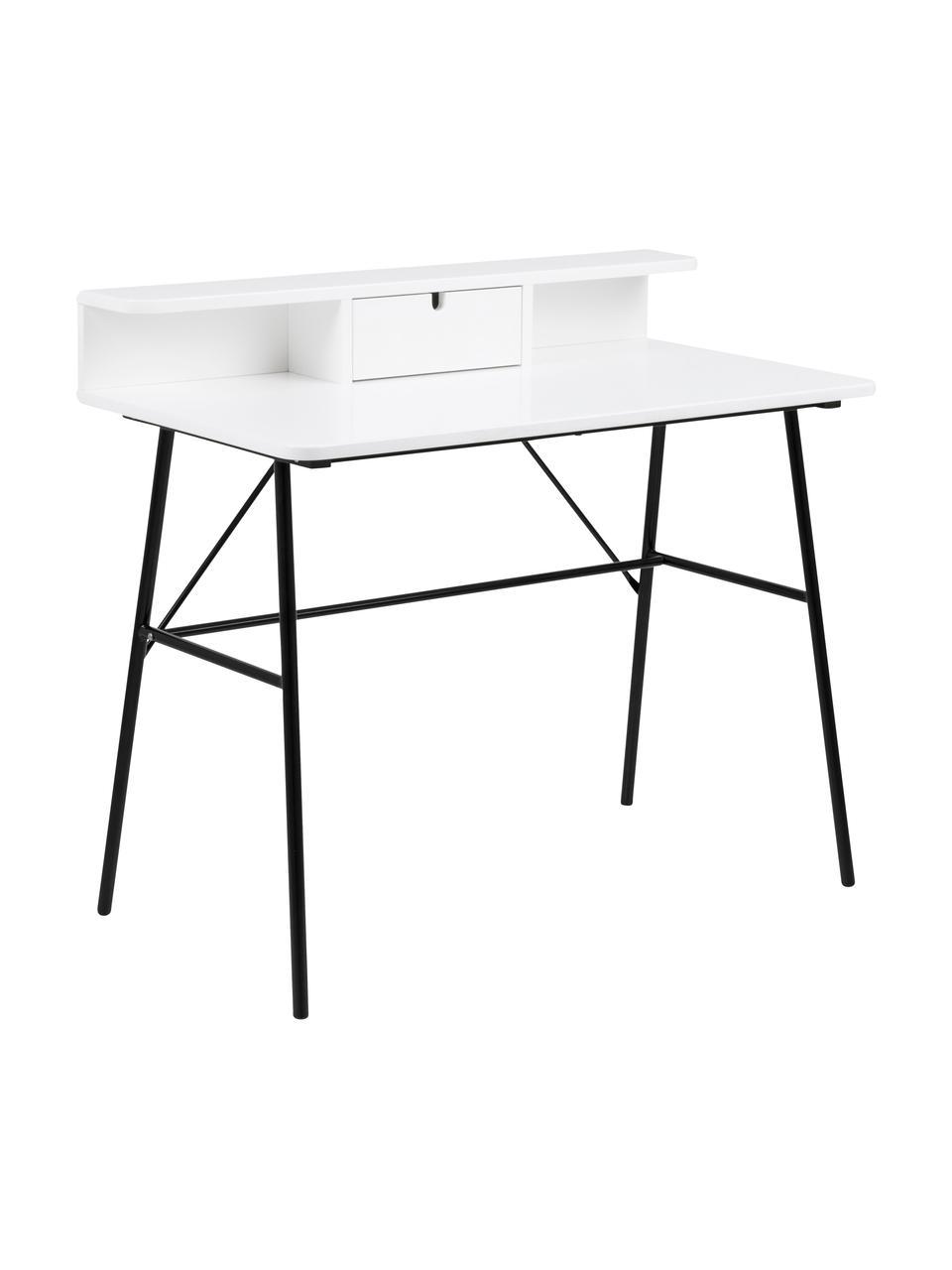 Biurko Pascal, Nogi: metal lakierowany, Czarny, biały, S 100 x W 88 cm