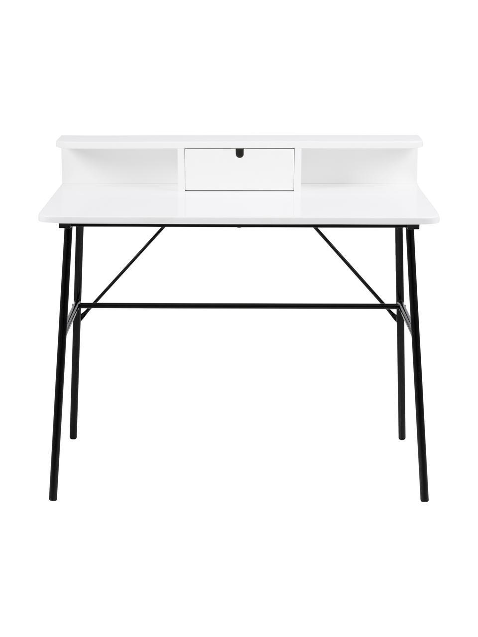 Bureau Pascal in wit met lade, Poten: gelakt metaal, Zwart, wit, 100 x 88 cm