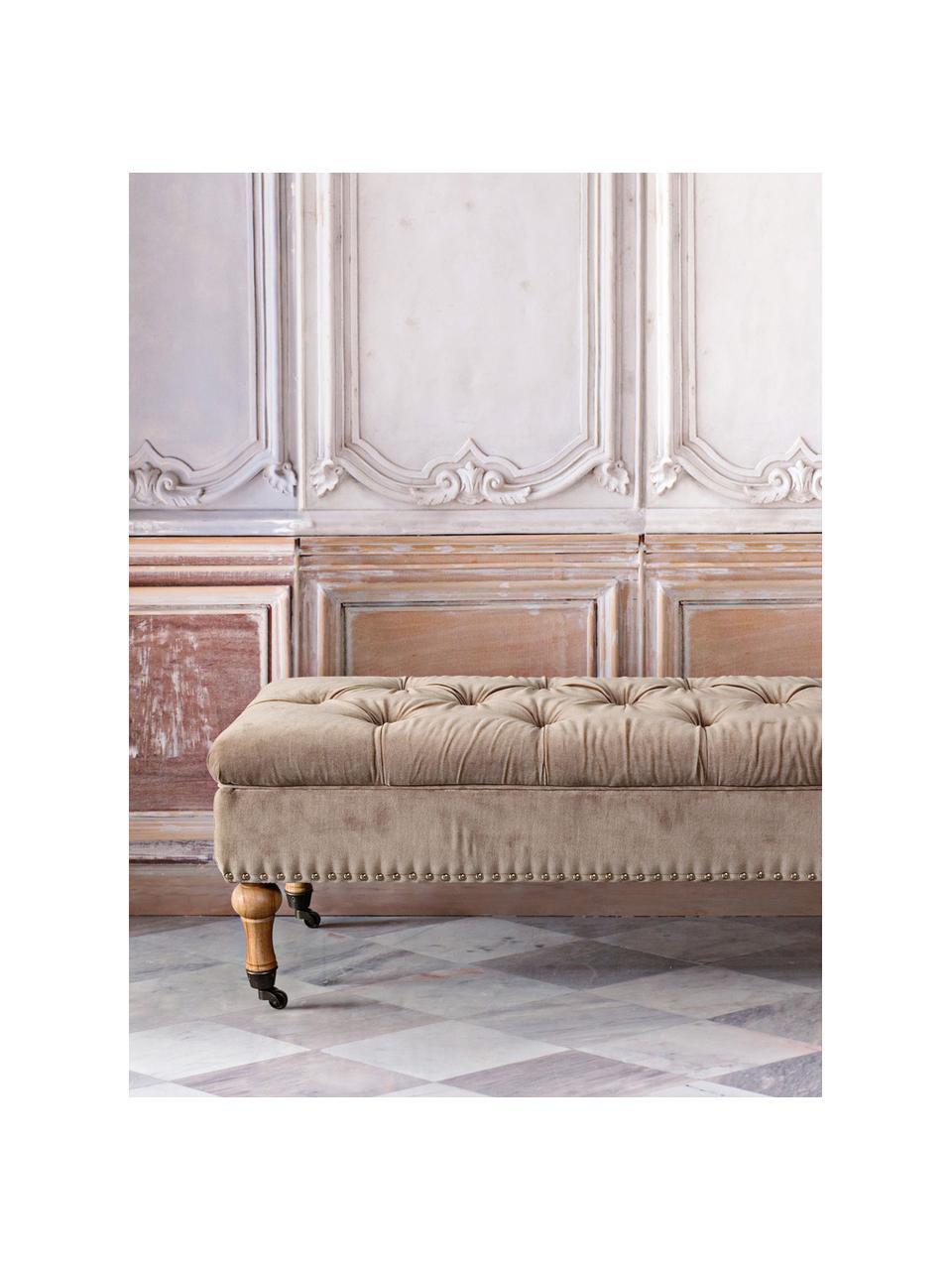 Fluwelen bank Arlette met opbergruimte, Bekleding: fluweel, Poten: dennenhout, Lichtbruin, dennenhout, zilverkleurig, 110 x 40 cm