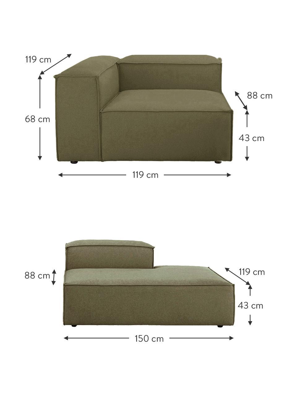 Modulaire chaise longue Lennon in groen, Bekleding: polyester De hoogwaardige, Frame: massief grenenhout, multi, Poten: kunststof De poten bevind, Geweven stof groen, B 269 x D 119 cm