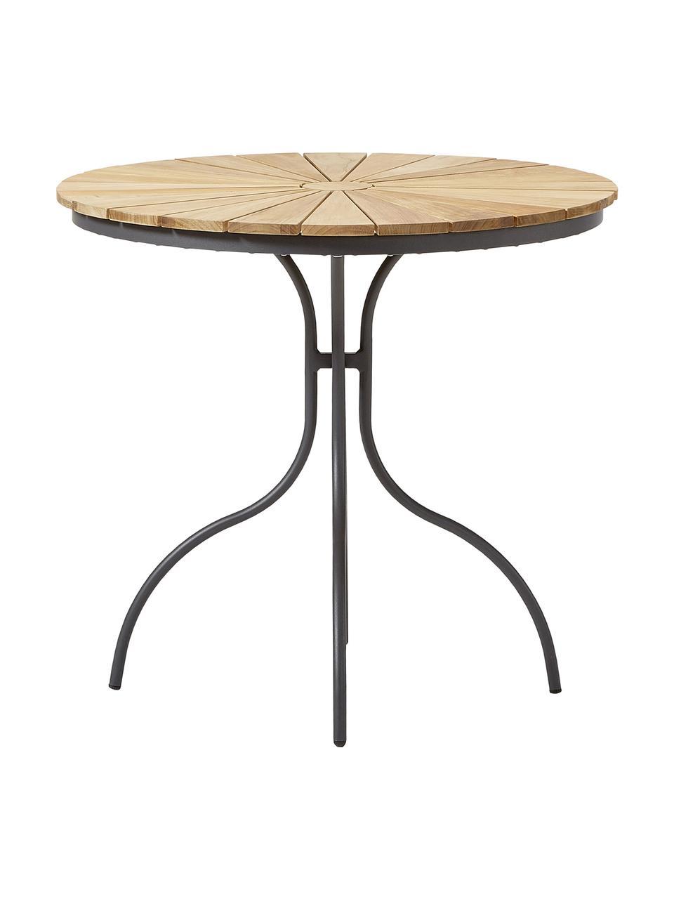Runder Gartentisch Hard & Ellen mit Teakholzplatte, Tischplatte: Teakholz, geschliffen, Anthrazit, Teak, Ø 80 x H 72 cm