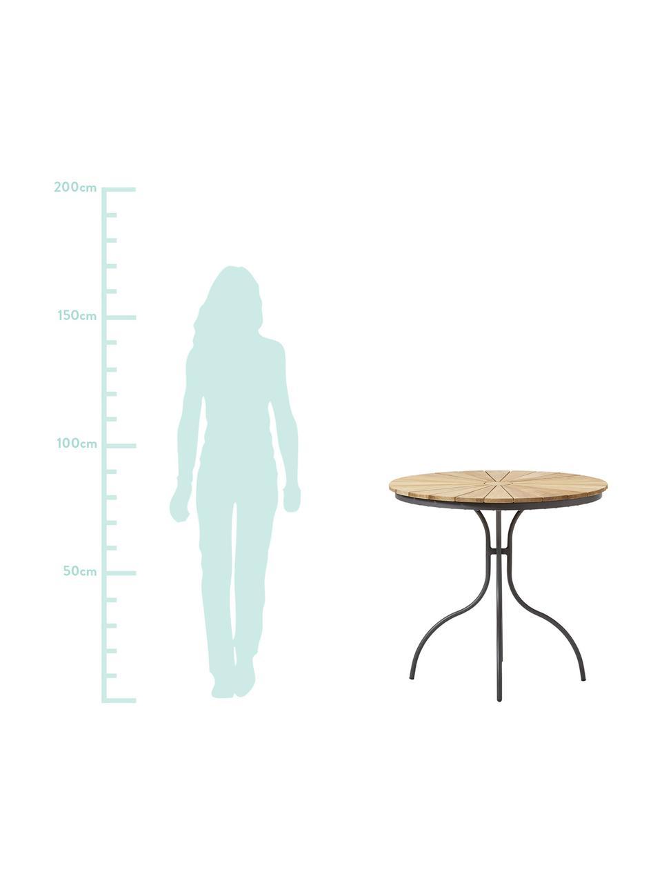 Okrągły stół ogrodowy z drewna Hard & Ellen, Blat: drewno tekowe, piaskowane, Antracytowy, drewno tekowe, Ø 80 x W 72 cm