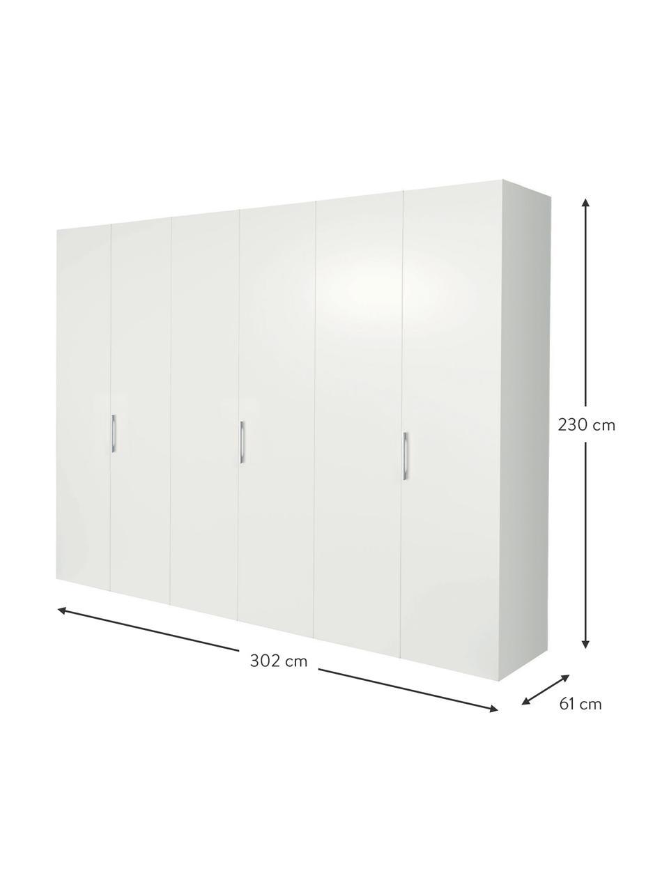 XL Kleiderschrank Madison mit 6 Türen in Weiß, Korpus: Holzwerkstoffplatten, lac, Weiß, 302 x 230 cm