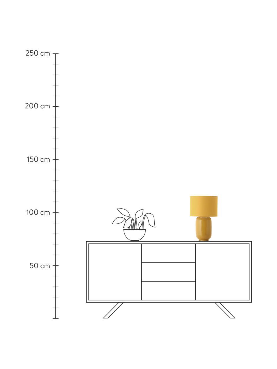 Keramik-Tischlampe Cadiz in Senfgelb, Lampenschirm: Stoff, Lampenfuß: Keramik, Gelb, Ø 28 x H 43 cm