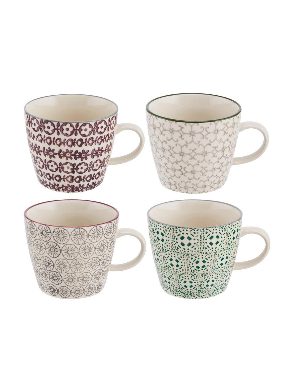 Set 4 tazze con motivo piccolo Karine, Gres, Bianco, verde, rosso, grigio, Ø 10 x Alt. 8 cm