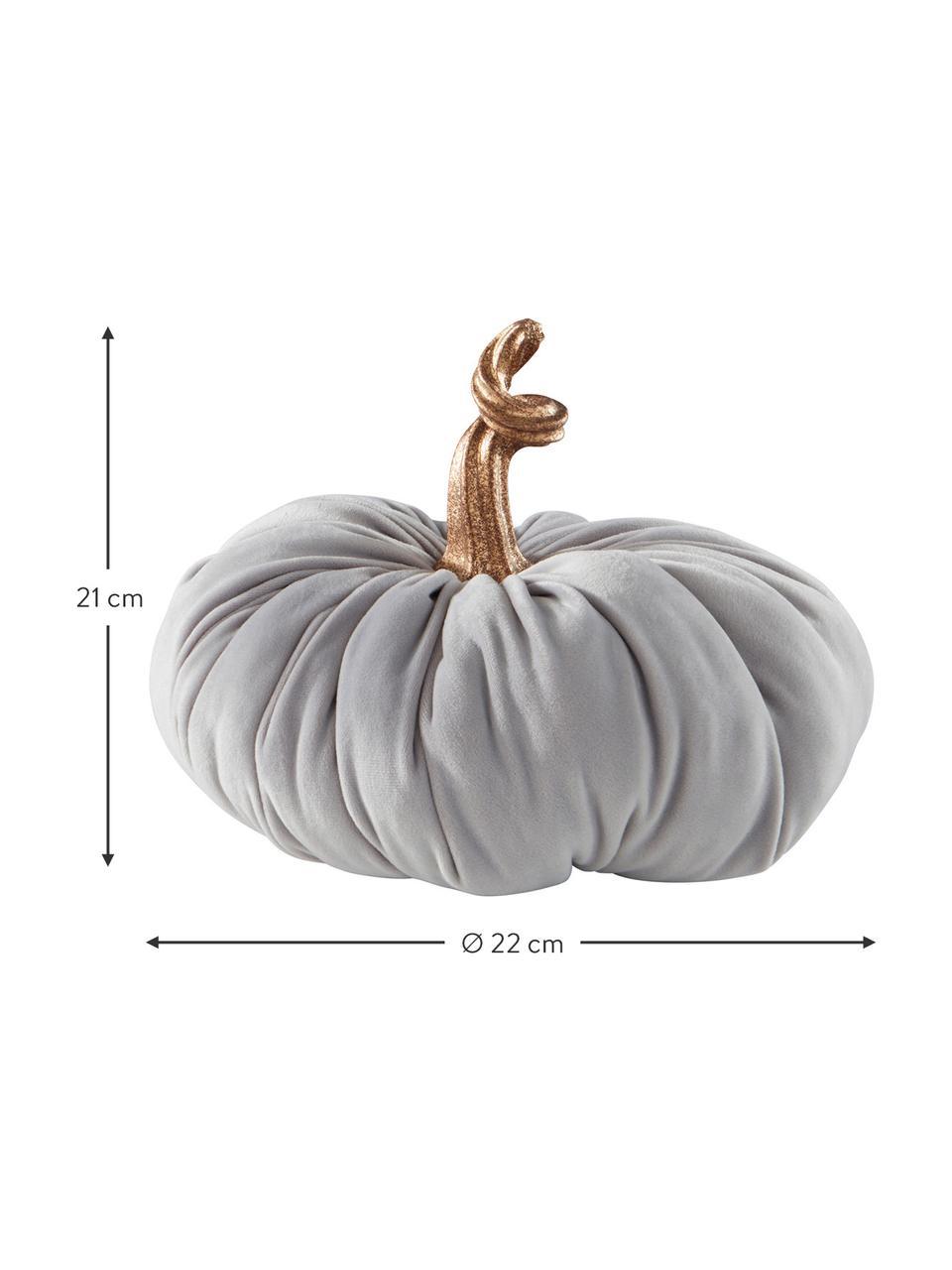 Zucca decorativa in velluto Pumpis, 15% poliresina, 35% acrilico, 25% poliestere, 25% riempimento con sabbia di quarzo, Grigio chiaro, Ø 22 x Alt. 21 cm