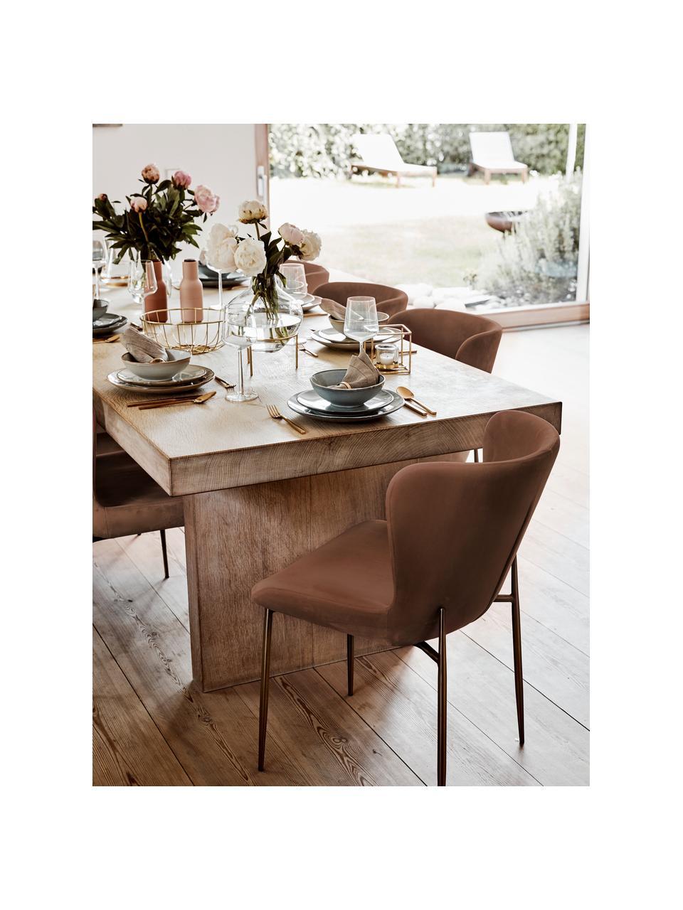 Krzesło tapicerowane z aksamitu Tess, Tapicerka: aksamit (poliester) Dzięk, Nogi: metal malowany proszkowo, Aksamitny brązowy, złoty, S 49 x W 84 cm