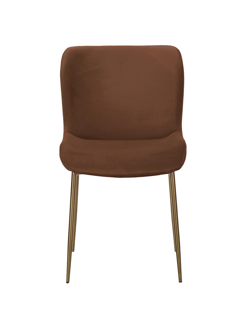 Fluwelen stoel Tess in bruin, Bekleding: fluweel (polyester), Poten: gepoedercoat metaal, Fluweel bruin, goudkleurig, 49 x 84 cm