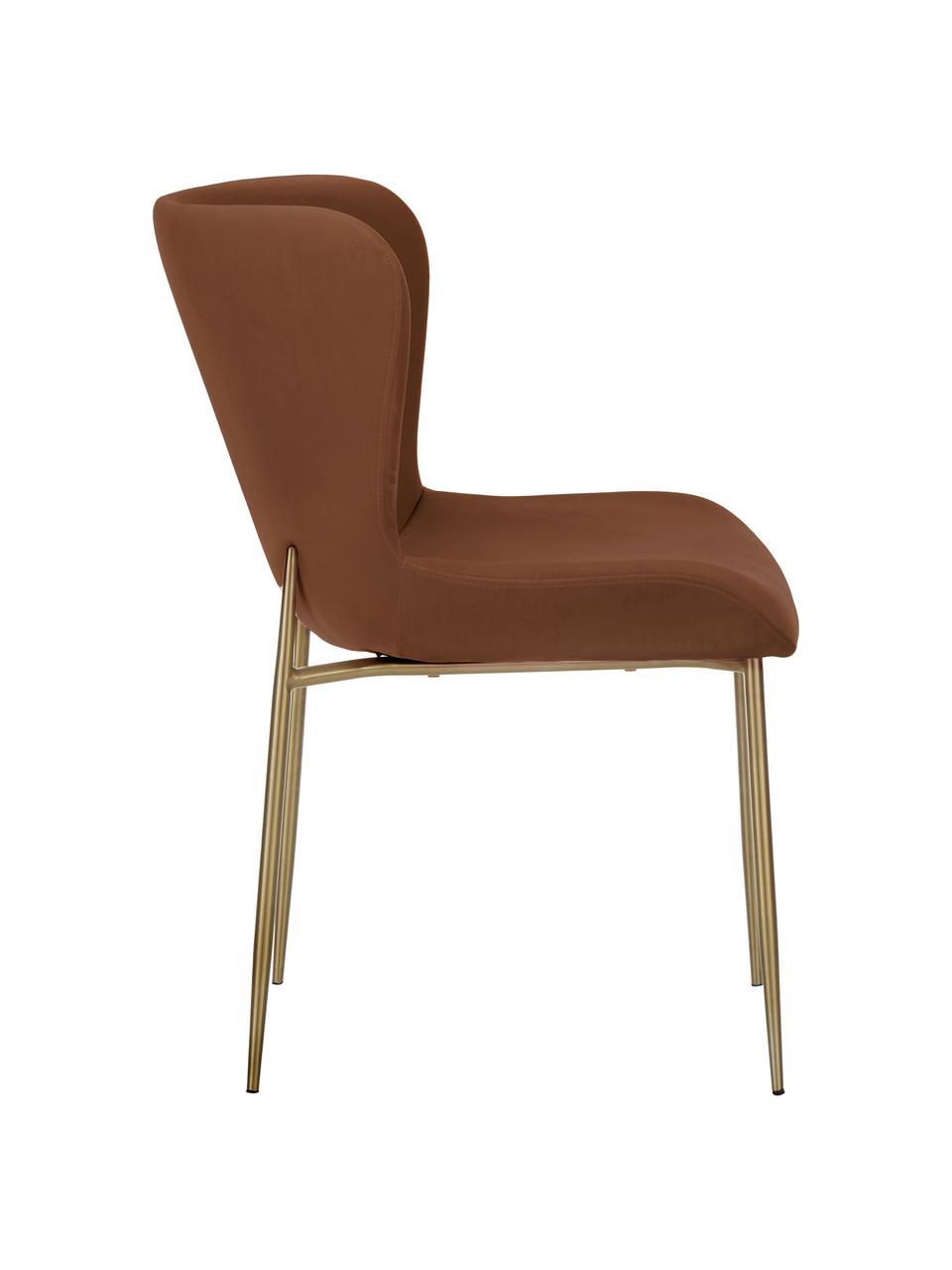 Sedia imbottita in tessuto marrone Tess, Rivestimento: velluto (poliestere) Il r, Gambe: metallo verniciato a polv, Velluto marrone, dorato, Larg. 49 x Alt. 84 cm