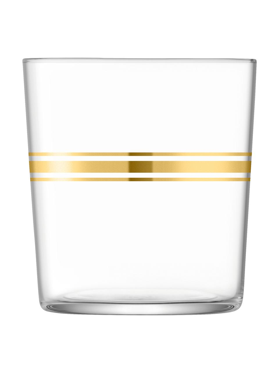 Set 8 bicchieri acqua con elementi in oro Deco, Vetro, Trasparente, dorato, Ø 8 x Alt. 9 cm