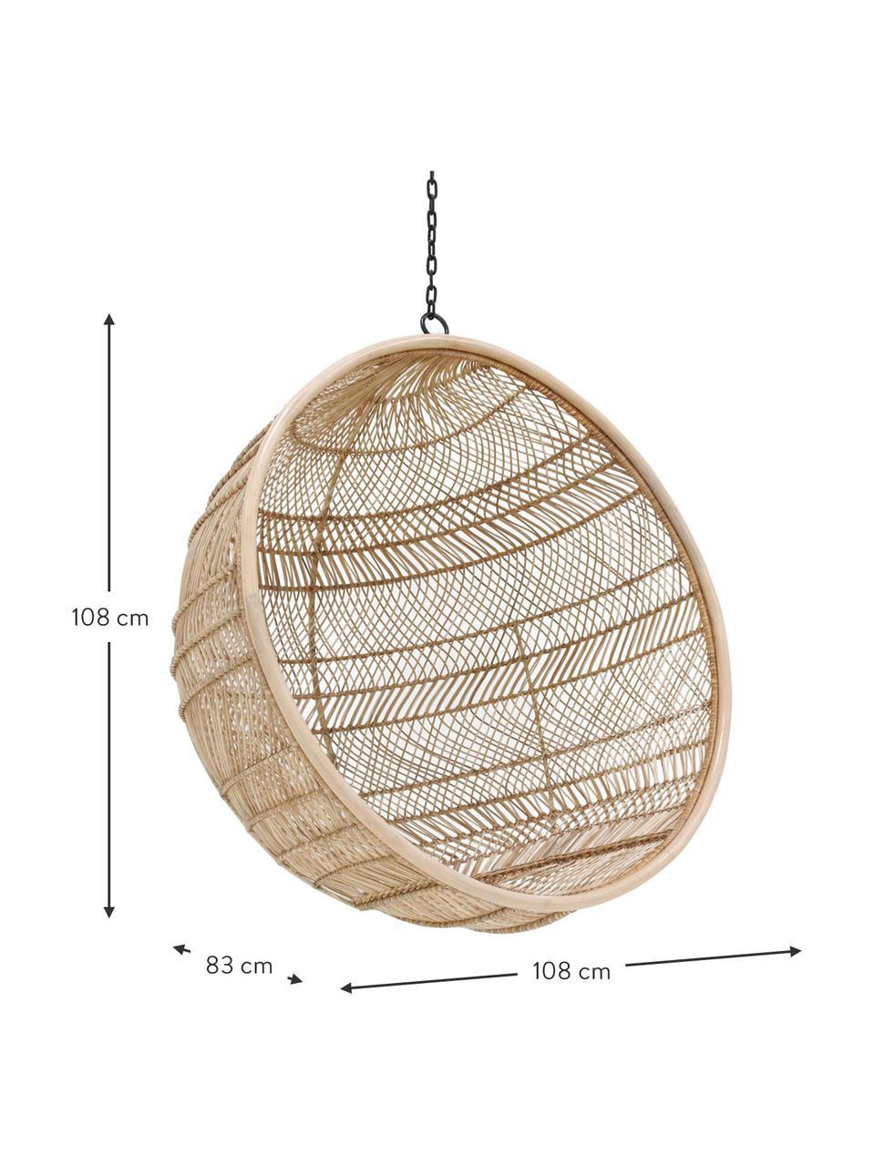 Poltrona sospesa in rattan Structure, Rattan, Ø 108 x Alt. 83 cm