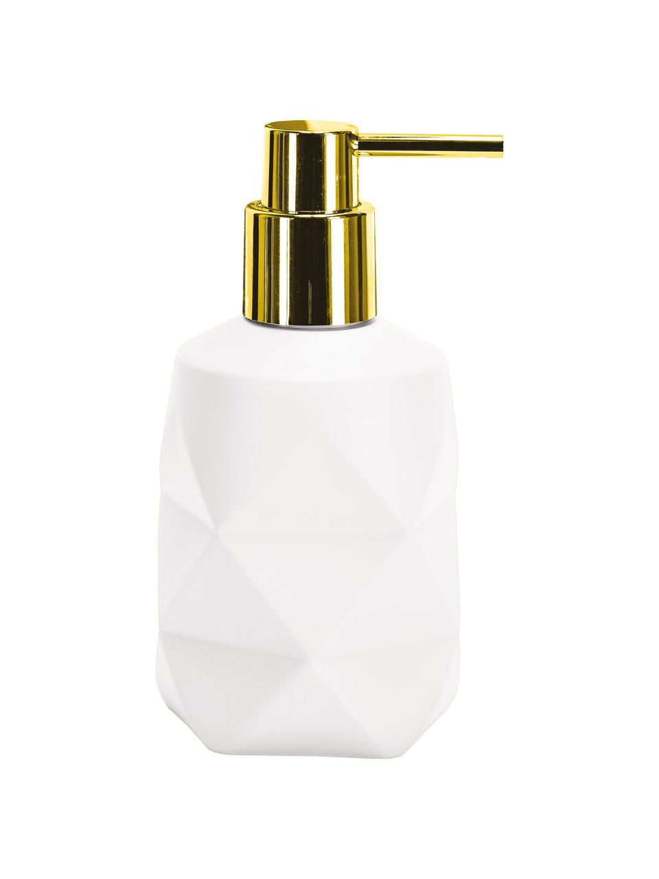 Seifenspender Crackle aus bruchfestem Polyresin, Pumpkopf: Metall, Weiß, Ø 8 x H 17 cm
