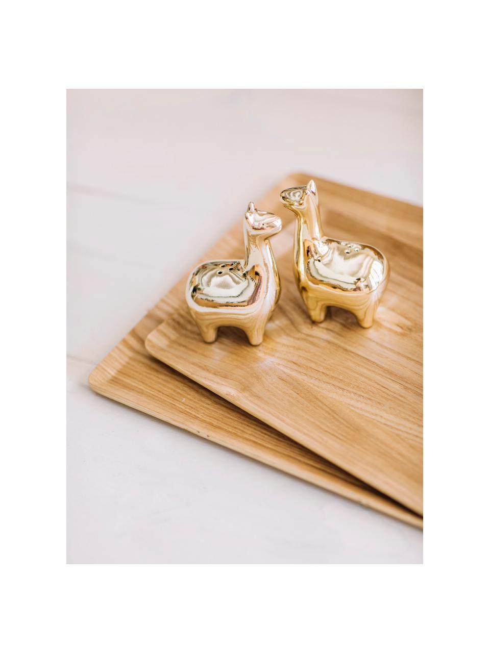 Zout- en peperstrooierset Lamas, 2-delig, Keramiek, Messingkleurig, 5 x 9 cm