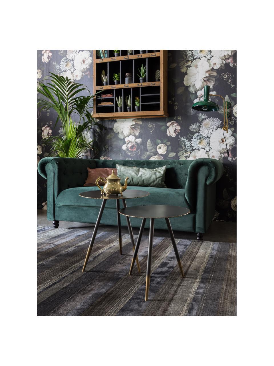 Chesterfield-Samt-Sofa Chester (2-Sitzer) in Grün, Bezug: Polyestersamt 20.000 Sche, Füße: Massives Eichenholz und N, Samt Waldgrün, B 186 x T 94 cm
