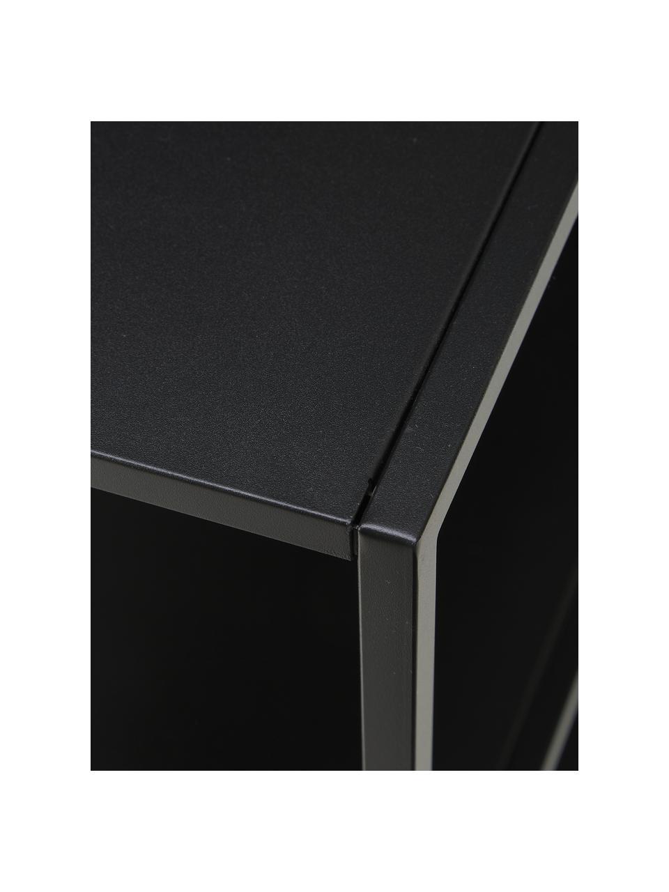 Libreria in metallo nero Neptun, Metallo rivestito, Nero, Larg. 120 x Alt. 80 cm