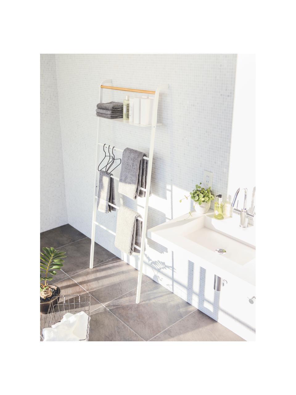 Scaffale a scala in metallo bianco Lena, Struttura: metallo verniciato a polv, Asta: legno, Bianco, Larg. 66 x Alt. 160 cm