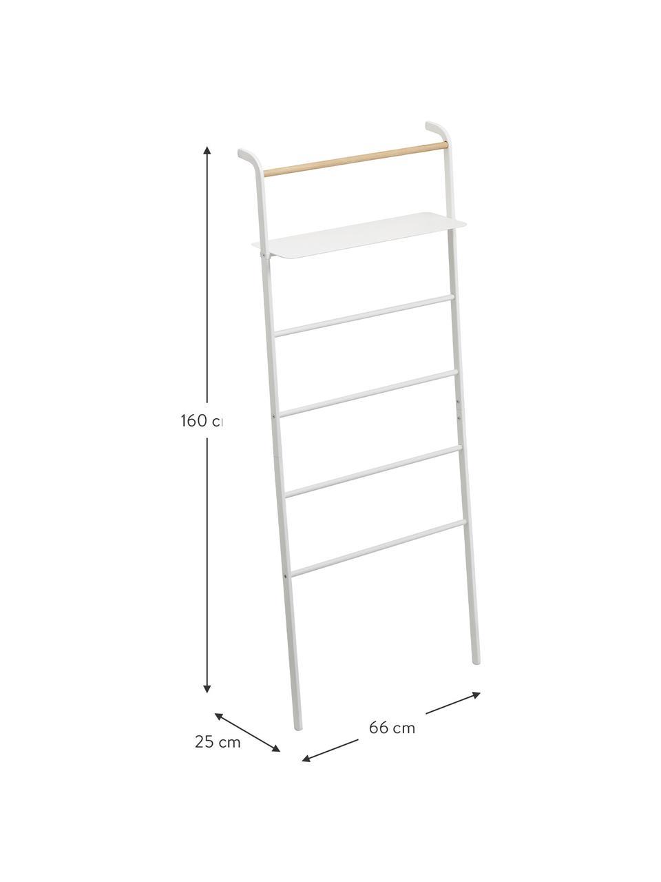 Metall-Leiterregal Lena in Weiß, Gestell: Metall, pulverbeschichtet, Stange: Holz, Weiß, 66 x 160 cm